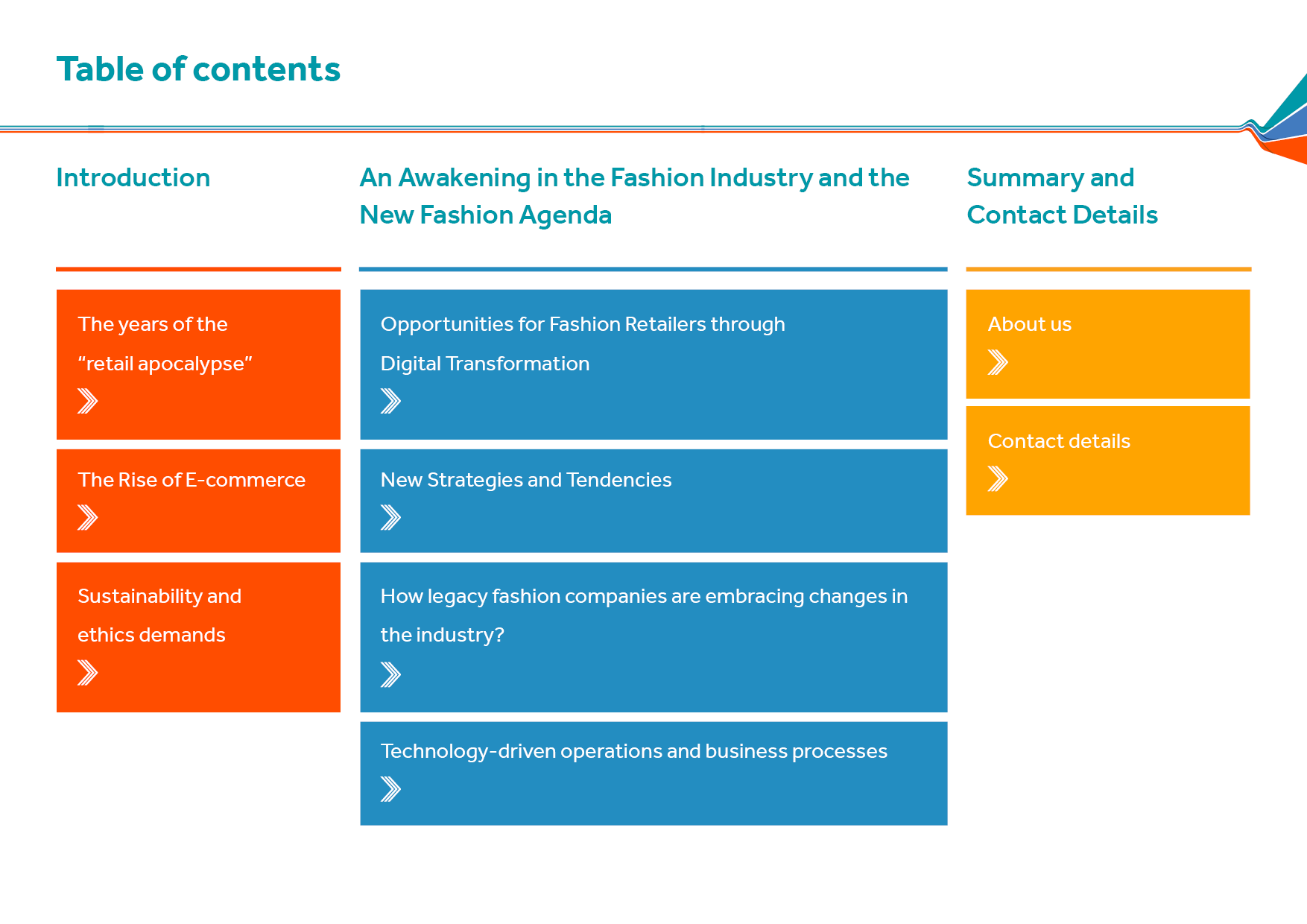 The Changing Landscape of Fashion Retail_table of contents
